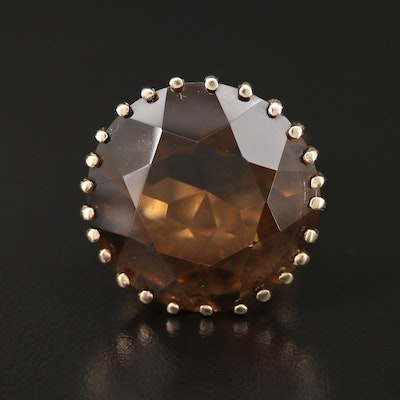 14K Gold 22.00 CT Smoky Quartz Ring