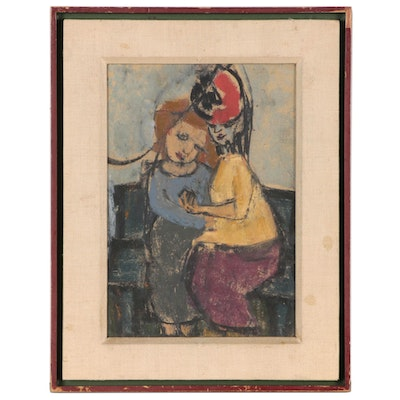 Figural Pastel Drawing of Two Embracing Woman