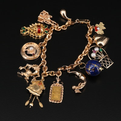 18K Gold Charm Bracelet Featuring Disney, Diamond and Emerald