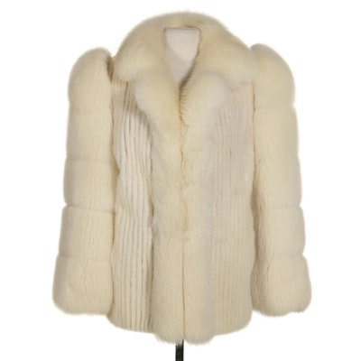 Fox Fur and White Corded Mink Fur Jacket by Lowenthal's