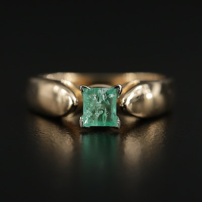 18K Gold Emerald Ring with 14K Gold Accent