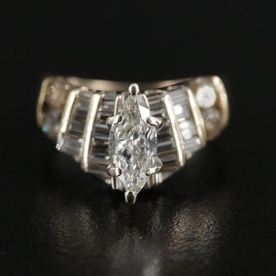 14K Gold 1.50 CTW Diamond Contour Ring