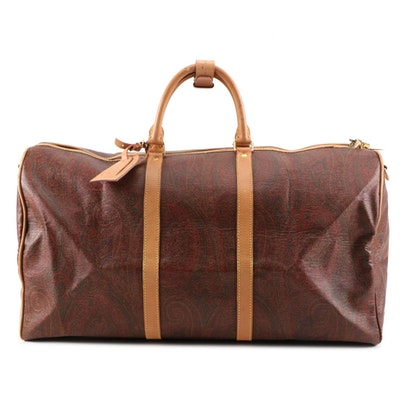 Etro Milano Weekender Travel Bag in Paisley Print Coated Canvas and Calf Leather