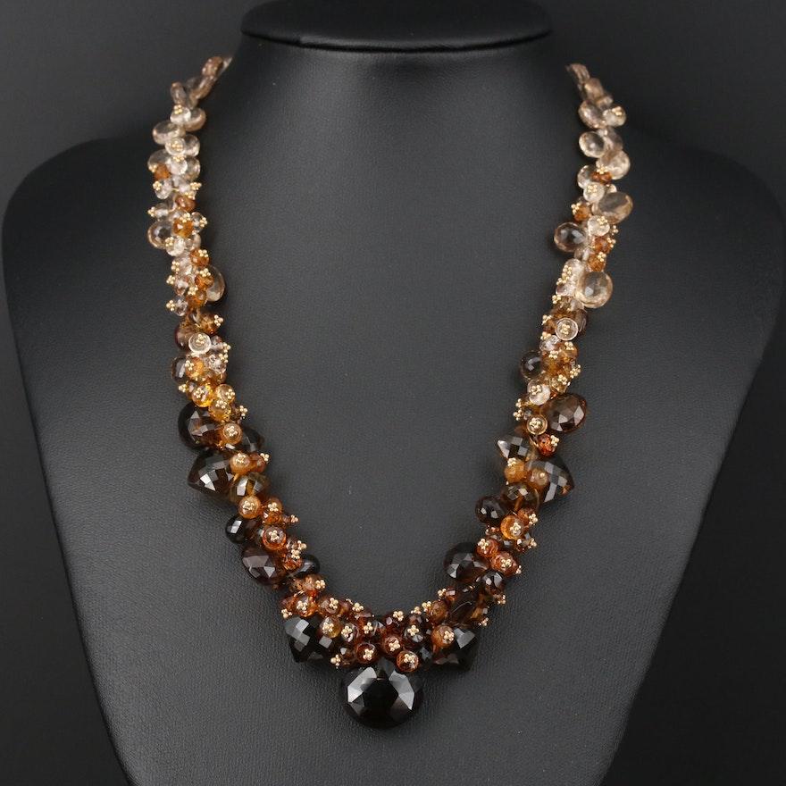 Joanne Daley 14K Gold Citrine, Tourmaline and Smoky Quartz Beaded Necklace