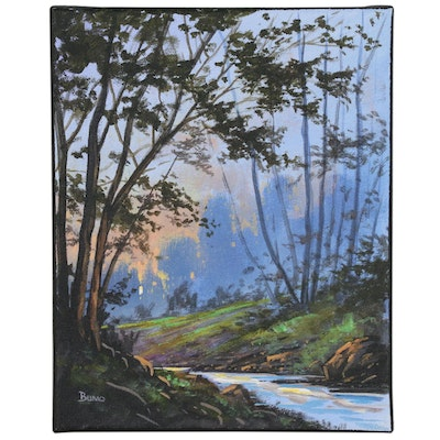 "Douglas ""Bumo"" Johnpeer Landscape Oil Painting ""Morning Creek"""