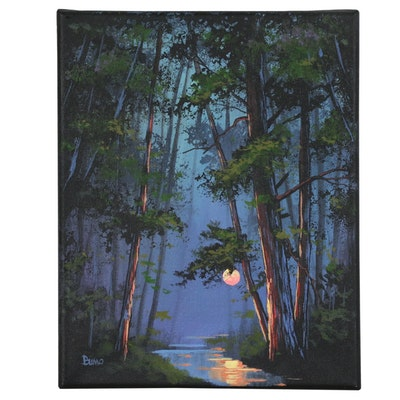 "Douglas ""Bumo"" Johnpeer Oil Painting ""Creek Glow"", 2015"