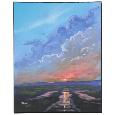 "Douglas ""Bumo"" Johnpeer Oil Painting ""Marsh Sunset"""