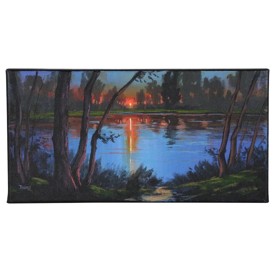 "Douglas ""Bumo"" Johnpeer Landscape Oil Painting ""Sunset Trees"", 2016"