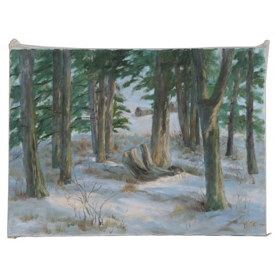 Mitzi Goward Winter Forest Landscape Oil Painting
