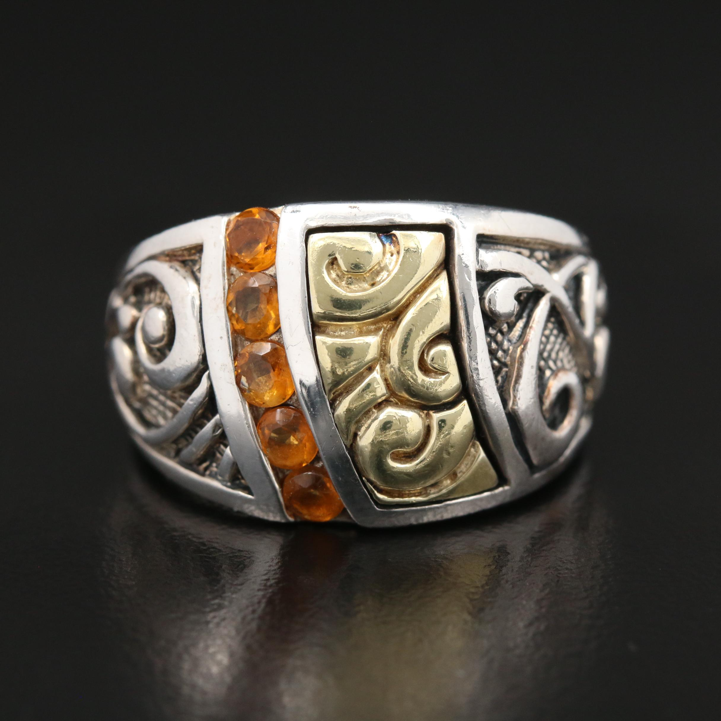 Details about  /Ann King Sterling Silver 18K Gold  and Citrine Ring  Size 7 MAJ21