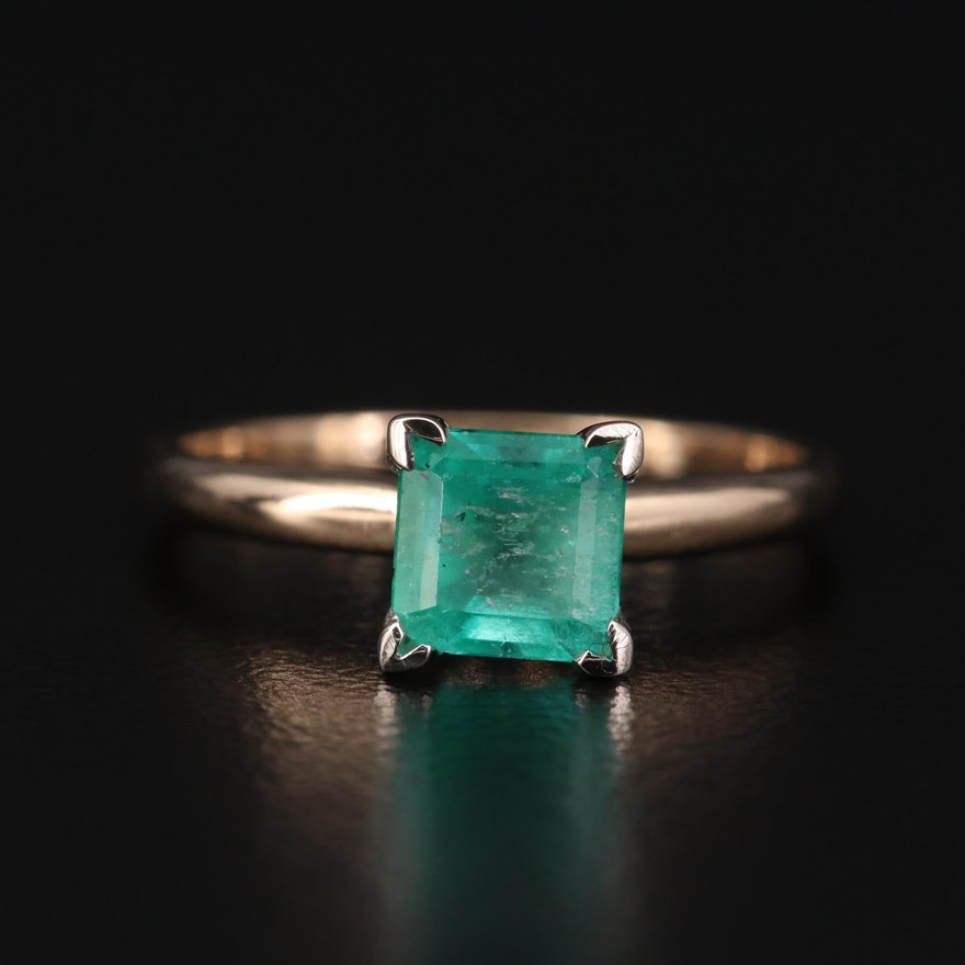 14K Emerald Solitaire Ring