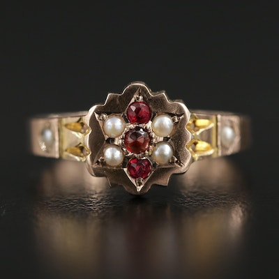 Victorian 9K Garnet, Glass and Pearl Ring