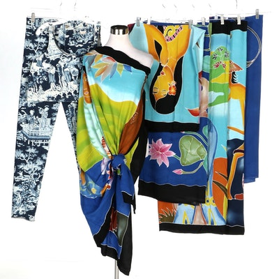 Tropical and Island Life Themed Sarongs with Chinoiserie Print Denim Set