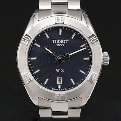 Tissot PR100 Black Mother of Pearl Dial Stainless Steel Quartz Wristwatch