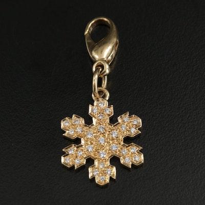 18K Diamond Snowflake Charm