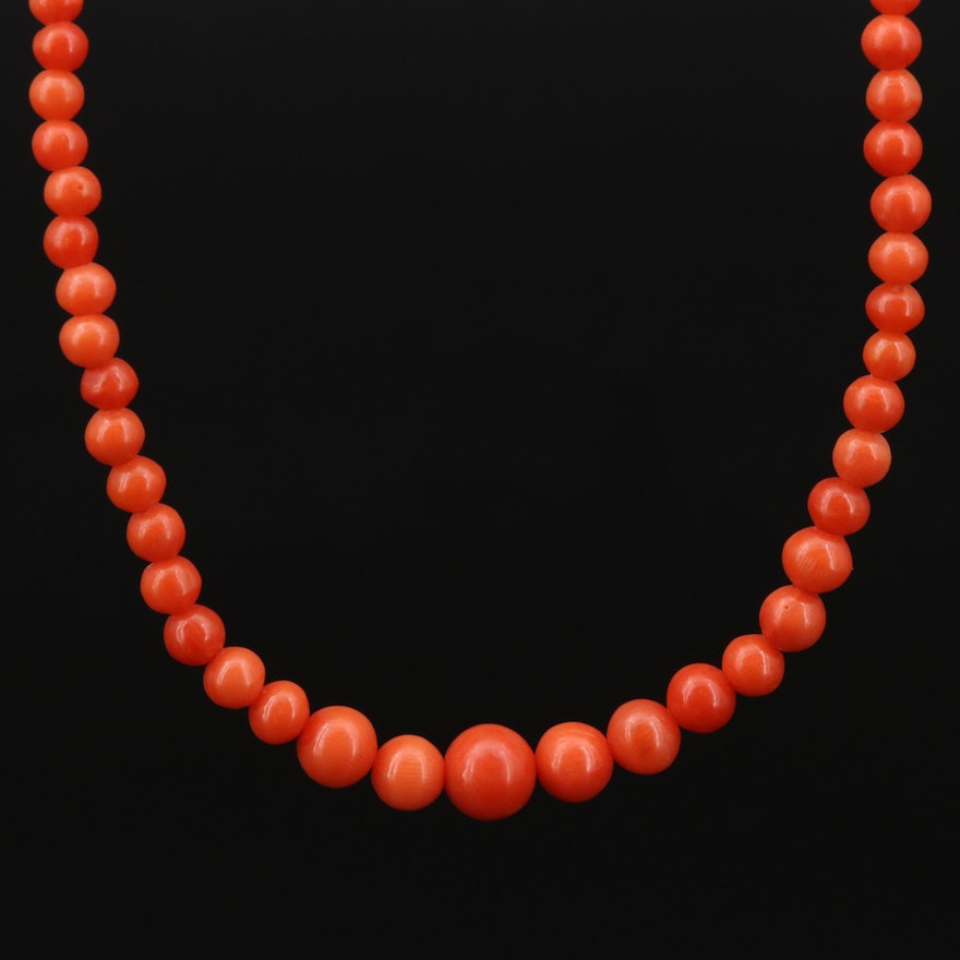 Graduated Coral Beaded Necklace with 14K Clasp
