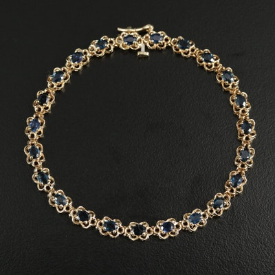 14K Gold Sapphire Bracelet