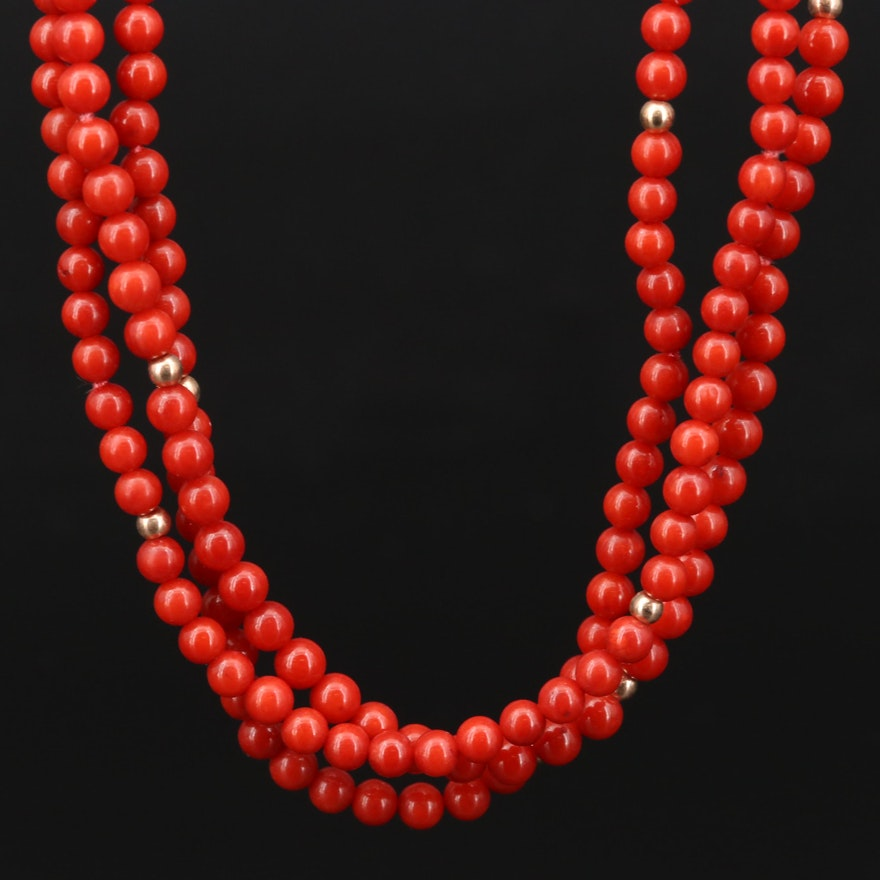 14K Yellow Gold Beaded Coral Triple Strand Necklace