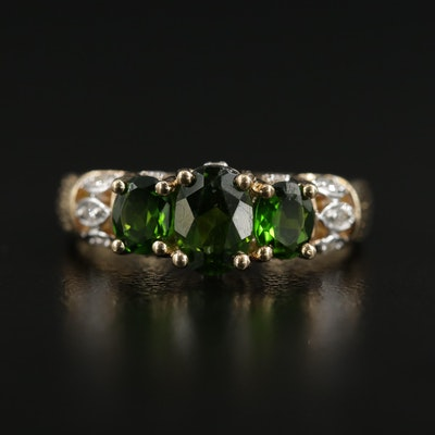 10K Gold Diopside and Diamond Ring