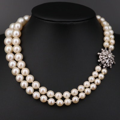 Vintage 14K Gold 1.38 CTW Diamond and Pearl Double Strand Necklace