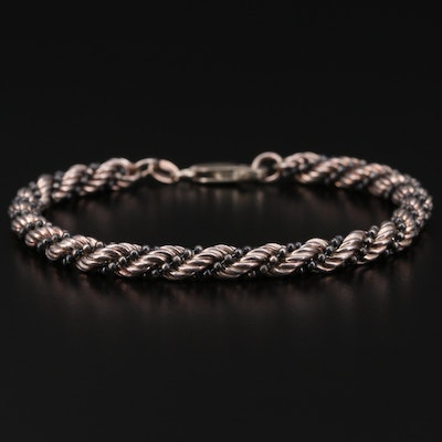 Sterling Silver Rope and Bead Chain Bracelet