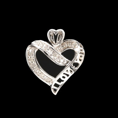 10K White Gold Diamond 'I Love You' Heart Pendant