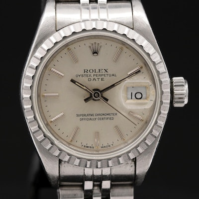 1991 Rolex Date 69240 Stainless Steel Automatic Wristwatch
