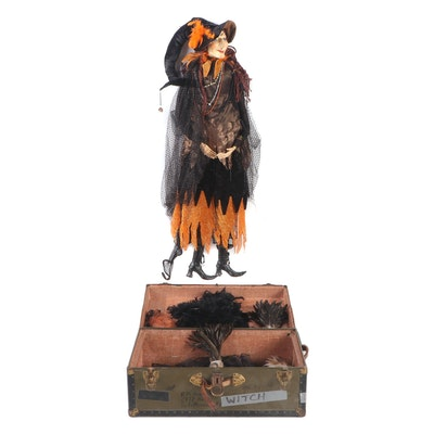 """Katherine's Collection """"Baba Yaga"""" Witch Doll and WWII Era Soldier's Footlocker"""