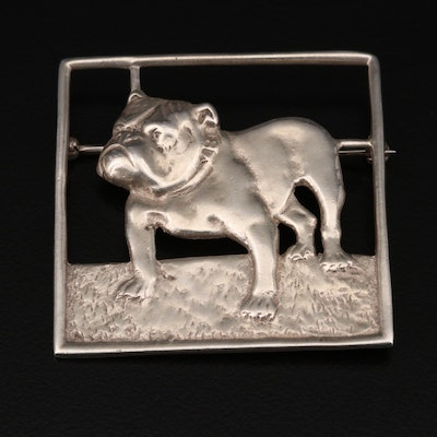 Sterling Silver Bulldog Brooch