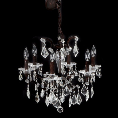 """James R. Moder """"Cosenza Collection"""" Patinated Metal and Crystal Prism Chandelier"""