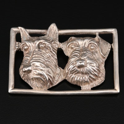 Sterling Silver Terrier Rectangular Brooch