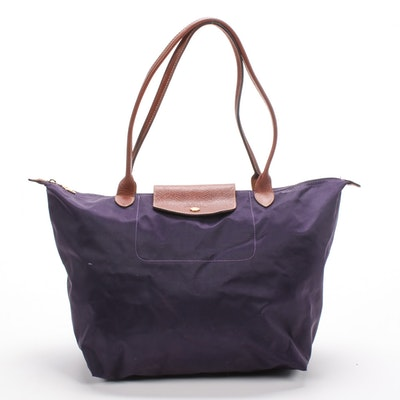 Longchamp Collapsible Purple Nylon and Leather Le Pliage Shopping Tote Bag