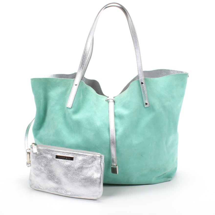 Tiffany & Co. Reversible Metallic Leather Tote Bag and Pouch