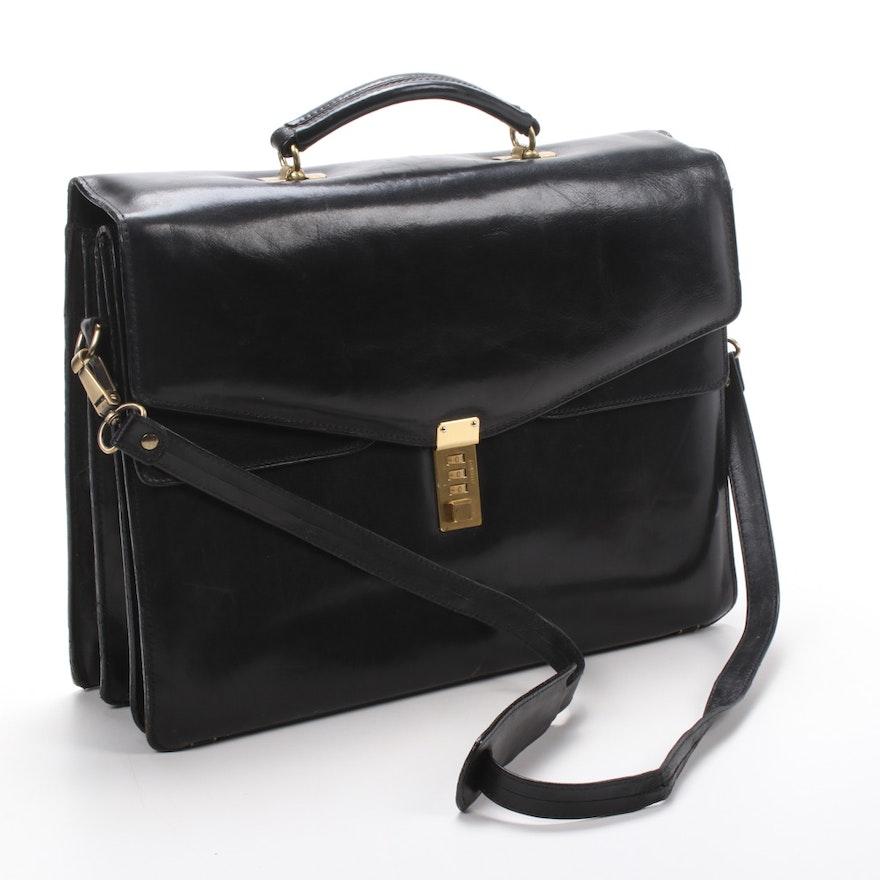 Saga Leather Combination Lock Briefcase with Detachable Strap