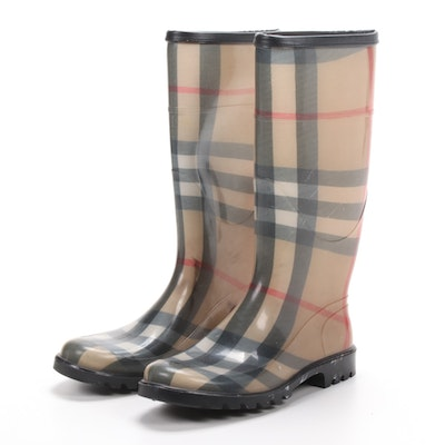 Burberry Signature Plaid Rain Boots, Made in Italy