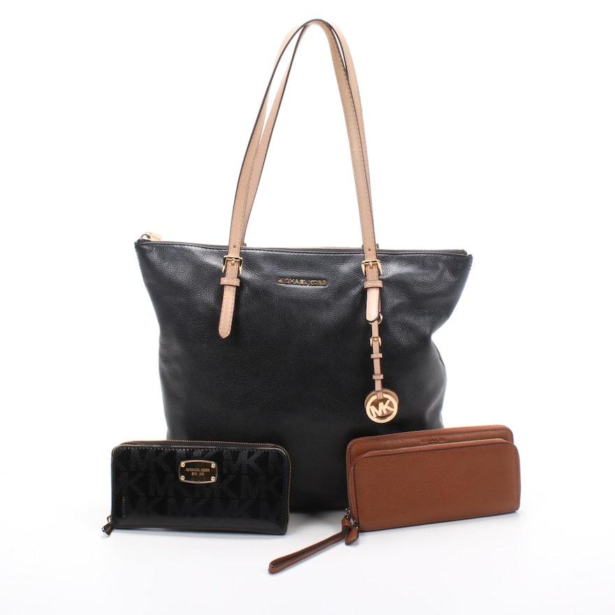 MICHAEL Michael Kors Tote Shoulder Bag and Wallet with Coach Wristlet Wallet