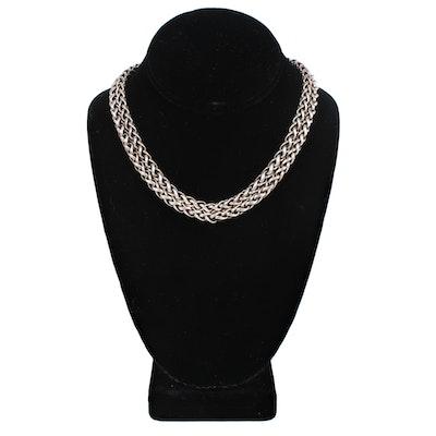 David Yurman Sterling Silver Double Strain Wheat Chain Necklace