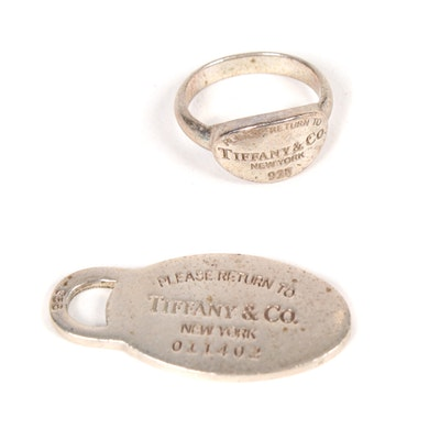 "Tiffany & Co. Sterling Silver ""Please Return to Tiffany & Co."" Tag and Ring"