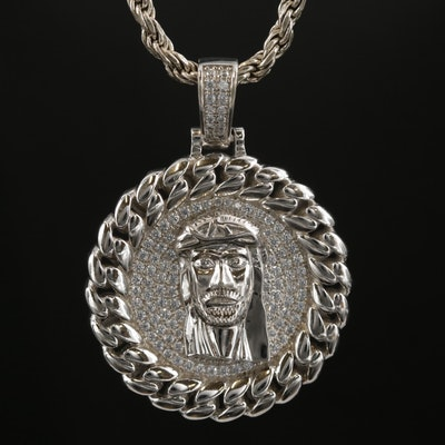 Sterling Cubic Zirconia Head of Christ Pendant Necklace