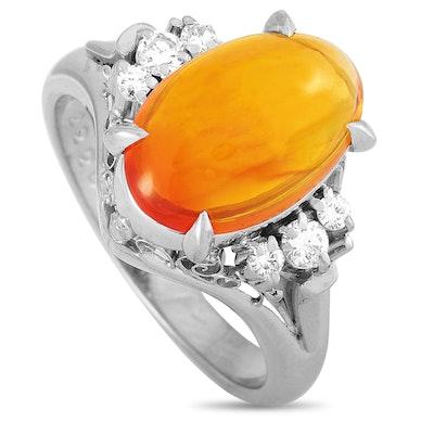 Platinum Diamond and 2.22 CT Opal Ring