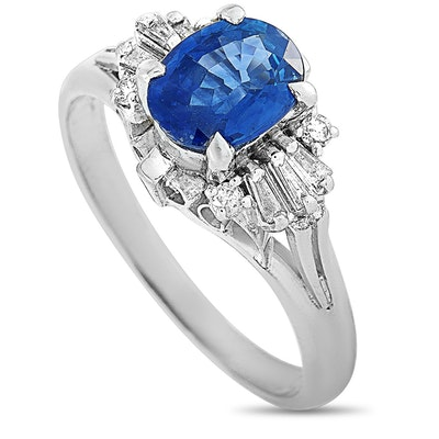 Platinum Diamond and 1.20 CT Sapphire Ring