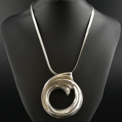 Sterling Circular Converter Pendant on Herringbone Chain