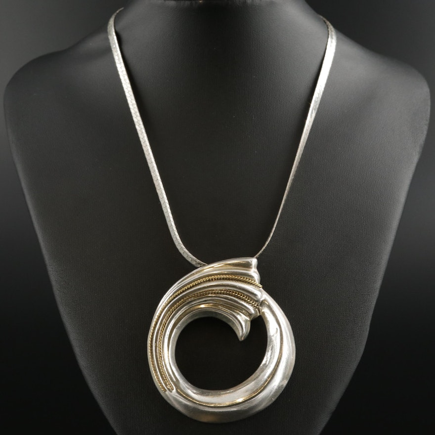 Sterling Circular Converter Pendant on Herringbone Chain