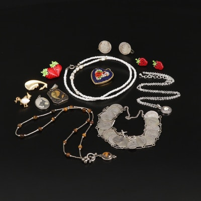 Assorted Gemstone Jewelry With Sterling Silver Coin Bracelet and Earrings