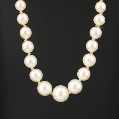 14K Gold Graduated Pearl Necklace