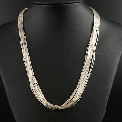 Sterling Silver Liquid Silver Multi-Strand Necklace