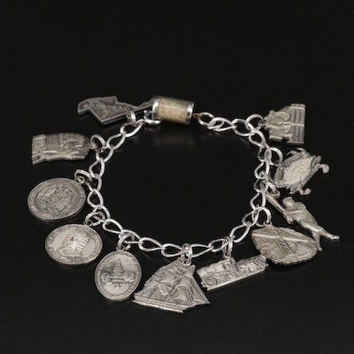 Sterling Silver Maryland Theme Charm Bracelet with U.S.S Constellation Charm