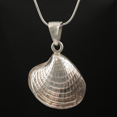 Sterling Silver Clam Shell Station Necklace