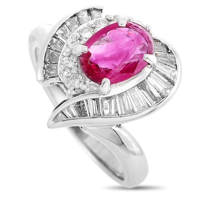 Platinum 1.16 CTW Diamond and 1.10 CT Ruby Ring