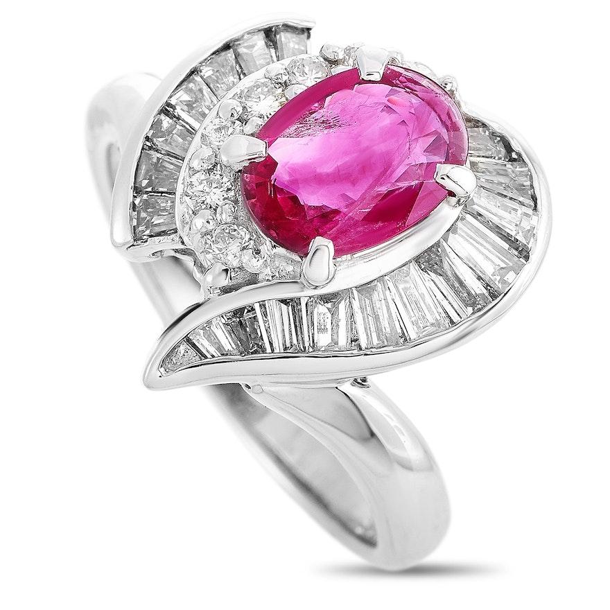 Platinum 1.16 CTW Diamond and 1.10 CT Ruby Ring
